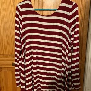 Maroon and white striped dress from wet seal!